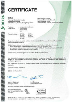 prosurge keam certificate for surge protective device