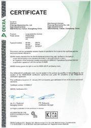 Certificado KEMA del dispositivo de protección contra sobretensiones de Prosurge