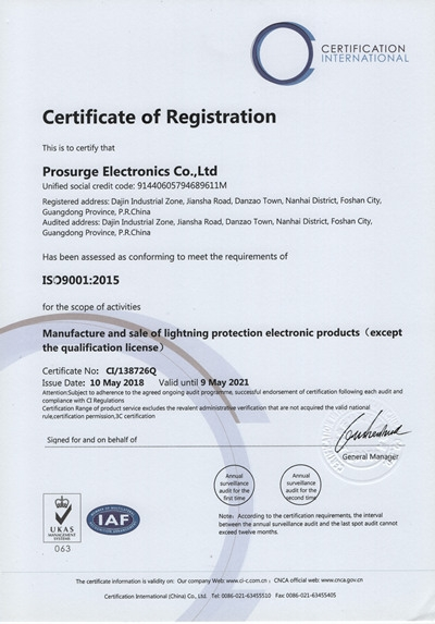 ISO Certificate of Prosurge