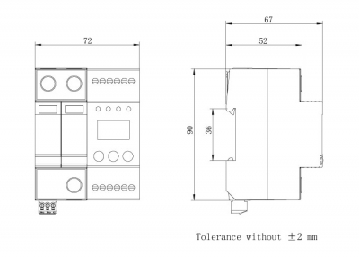 dimension-iSPD-AT T2-Class II for single phase(TT,TN)