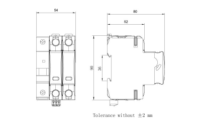 dimension-iSPD-SCB T1-Class I for single phase (TT,TN)