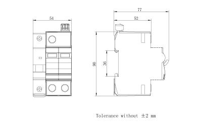 dimension-iSPD-SCB T2-Class II for single phase (TT,TN)