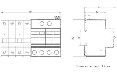 dimension-iSPD-SCB T2-Class II for three phase (TT,TN)