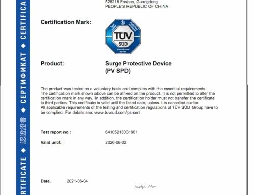 Os TPMOV da Prosurge são aprovados pela TUV como classe II PV SPD (dispositivo de proteção contra sobretensão PV) de acordo com o padrão IEC61643-31
